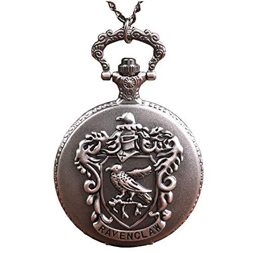 Ogquaton Frauen Tasche Analog Quarz Taschenuhr Englisch Brief Adler Muster Halskette Anhänger Taschenuhr Silber Grau Vintage Kette Halskette Taschenuhr Langlebig und nützlich