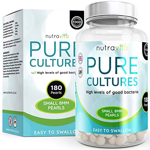 Pure Cultures Triple Strength Maximum CFU 180 (6 Months Supply) Time Release High Strength Pearls - Made in The UK by Nutravita