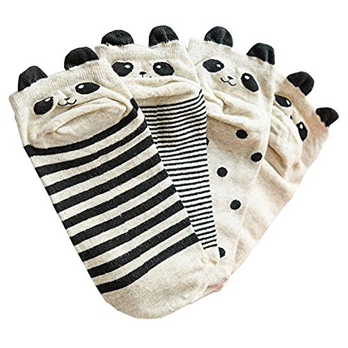 Caramella Cotton Novelty Socks Panda Ankle Socks for Girls and Women (Pack of 4)