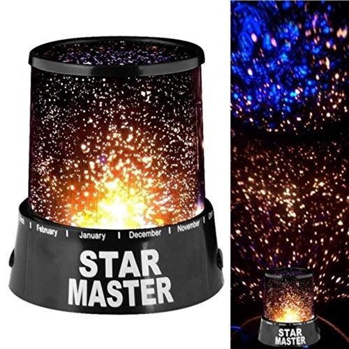 PARIDA with Logo Colorful LED Star Master Night Light Projector Lamp, (Black)