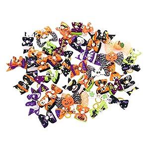 JpGdn 50Pcs Halloween Small Dogs Hair Bows Puppy Hair Bow Ties with Pumpkin Skull Bat Ghost Rhinestone for Doggie Cat Kitten Rabbit Medium Pet Hair Flowers Bowknot Grooming Accessories Attachment