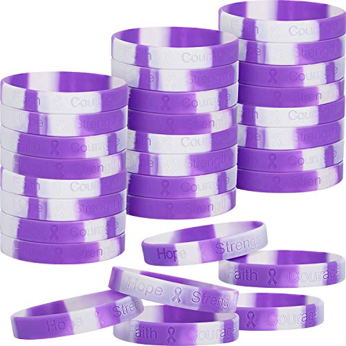 48 Pieces Purple Ribbon Awareness Bracelets Silicone Ribbon Wristbands Hope Strength Faith Courage Health Awareness Bracelet Unisex for Men Women Teens to Support Pancreatic Cancer Alzheimer's Lupus