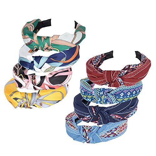 8pcs Diademas Mujer de Pelo Anchas Diadema Nudo Bandas de Pelo para la Cabeza Turbantes para Mujer Diadema Para Mujer Chica Accesorio de Pelo 8 Colores Variados (2 Estilos)