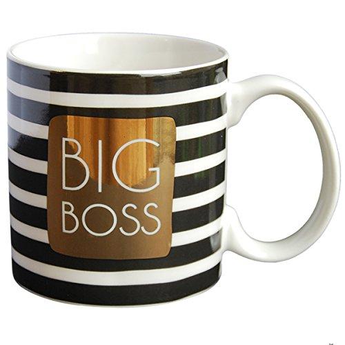 LA CARTERIE 76000548Big Boss Taza Porcelana Negro/Oro 11,6x 9,5x 8,2cm