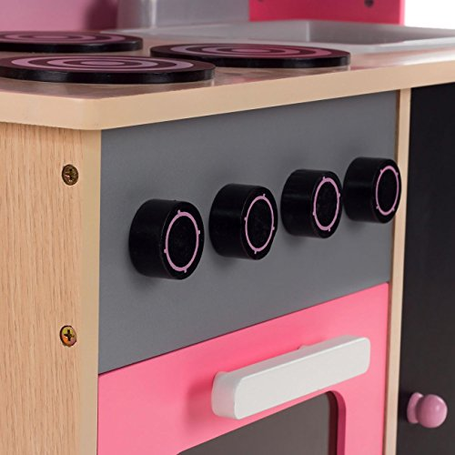 Baby Vivo Kinderküche Spielküche aus Holz Kinderspielküche Küche Holzküche Spielzeugküche mit Tafel - Mila in Rosa - 6