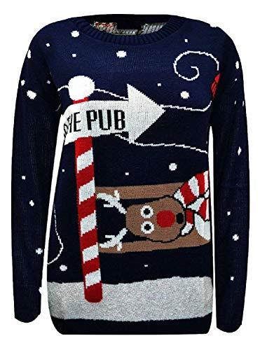 mymixtrendz Mens Knitted Xmas Rudolf Reindeer Snowflake Festive Deer Bambi Christmas Jumper (S, Navy)