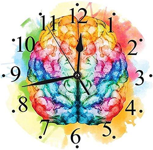 JSYHXYK Reloj De Pared Reloj De Pared Silencioso Vibrante Colorido Cerebro Humano Cuerpo Neurología Hemisferios Inteligencia Reloj De Pared