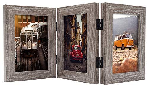 Frametory, 10,2 x 15,2 cm aufklappbarer Bilderrahmen für 3 Fotos, dreifach gefalteter Bilderrahmen vertikal auf dem Schreibtisch oder Tisch, Echtglasfront (grau, 10,2 x 15,2 cm)