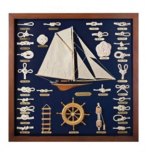 Nauticalmania - Quadro vetrina con nodi marini, veliero e timone, 68 x 68 x 4 cm