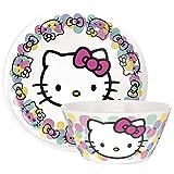 Zak Designs Sanrio Hello Kitty Plate And Bowl 2pc Dinnerware Set Includes Non-BPA Break Resistant 10' Melamine Plate and 27oz Bowl