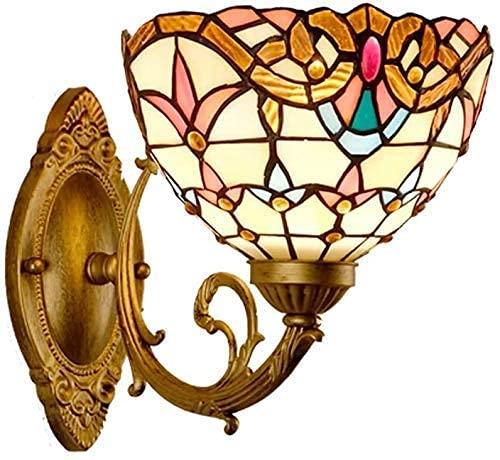 DALUXE Hoja de Pared de Estilo Tiffany de 8 Pulgadas, Sombra de vidrieras escono escoce Interior y lámpara de Pared Multicolor