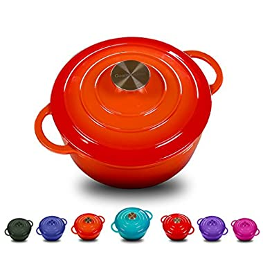 Enameled Cast Iron Dutch Oven With 360 Degree Water-Cycling System, Dual Handles (4.5 QT, Vitality Orange)