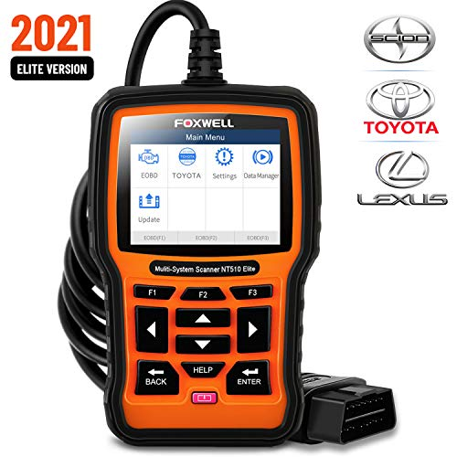 FOXWELL NT510 Elite Bi-Directional Full Systems Scan Tool for Toyota Lexus Scion, HVAC 4WD Code Reader with Enhanced Active Test ABS Auto Bleed Battery Registeration TPS TPMS etc(Professional Level)