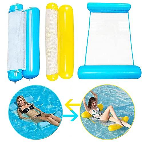 Shalwinn Cama hinchable de flotación, 2 piezas, hamaca de agua, 4 en 1, sillón para piscina, tumbona hinchable para piscina, hamaca, color azul y amarillo