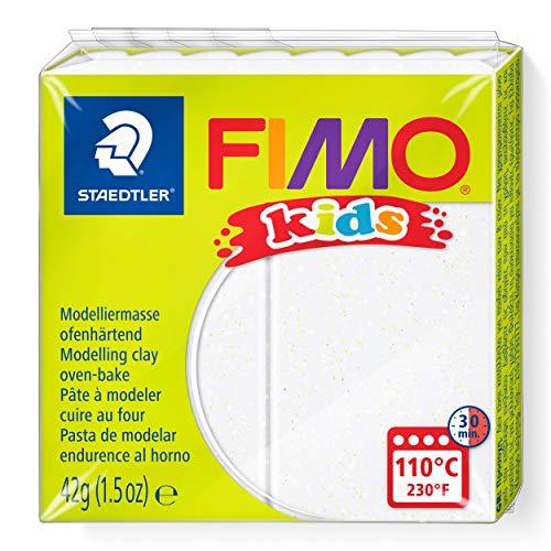 Staedtler - Fimo kids - Pain Pâte à Modeler Pailleté - Blanc - 42 g