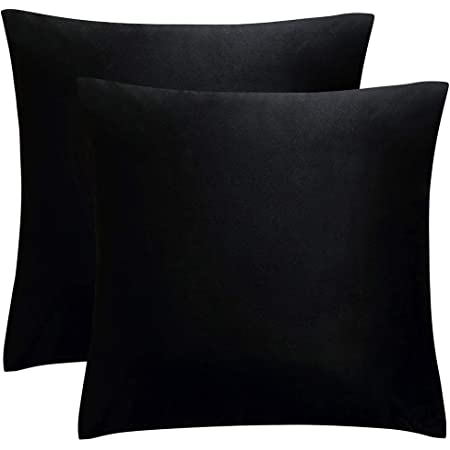 Amazon Com Juspurbet Decorative Velvet Throw Pillows Covers For Couch Bed Sofa Pack Of 2 Soild Soft Cushion Cases 26x26 Inches Black Home Kitchen