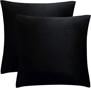 JUSPURBET Pack of 2,Velvet Decorative Throw Pillows Covers Cases for Couch Bed Sofa,Soild Color Soft Pillowcases,24x24 Inches,Black