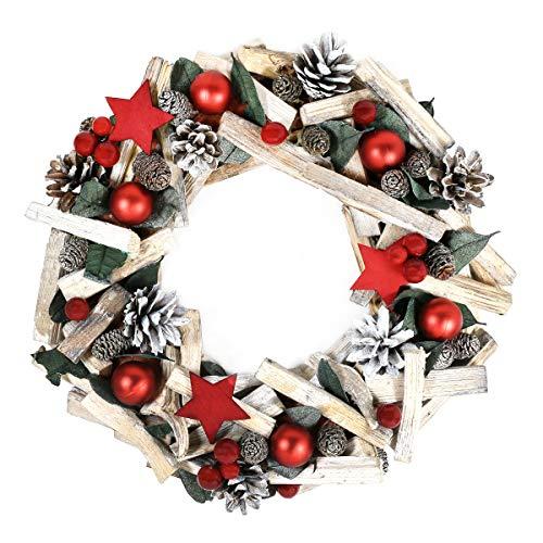 By Robelli - Ghirlande per porta natalizie, in legno, stile shabby chic, colore: rosa, blu, pigne, effetto neve, motivo albero (35 cm in legno rosso shabby chic a forma di stella bacca)