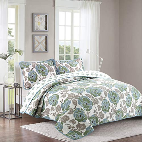 ADGAI Colcha 230x250 cm Funda de sofá de algodón Motivo Easy Care, con 2 Funda de Almohada Colorido, Flor Grande Verde