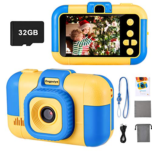 Kids Digital Camera, Best Christmas Birthday Electronic Toys Gifts For Toddlers Age 3-10 Years Old Boys Grils Childen, Video Camcorder Dual Lens 1080P 2.4 Inch HD (with 32G Micro SD Card, Blue)