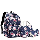 Sunborls Pastoral Nylon Backpack Girls Peony Lightweight Cute Elementary School Bag Women College Backpack Water Resistant Bookbag with Lunch Bag+Purse/Pencil Bag (3 in 1 dark blue)