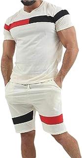 Men 2 Piece Athletic Sports Shorts Set Short Sleeve Top Short Pants Tracksuit