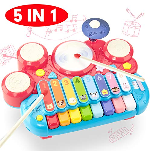 CubicFun 5 in 1 Kids Piano Drum Set Xylophone Baby Toys 12-18 Months Kids Toddler Toys Baby Girl Boy Einstein Toy Gifts Toys for 1 Year Old Girl Boy Toys for 2 Year Old Girls Boys Toys Birthday Gift