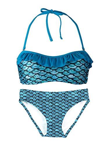 Fin Fun, Bandeau Bikini Set, Tidal Teal Top, Tidal Teal Bottom, Girl's Large