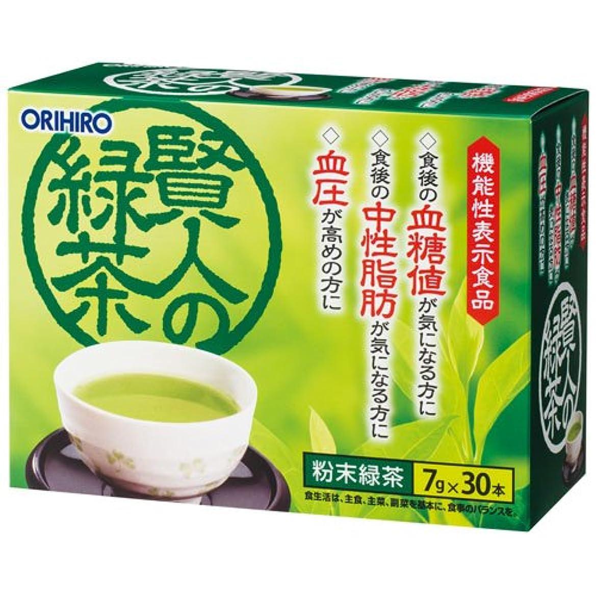 材料ラダ黒くするオリヒロ 賢人の緑茶 7g×30包×6個セット