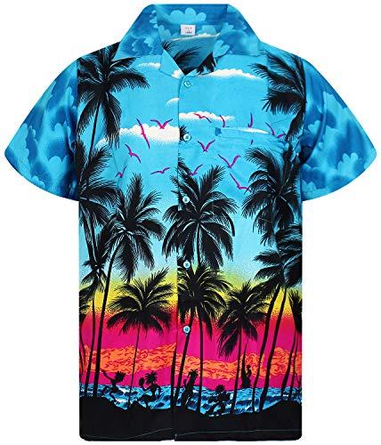 V.H.O. Funky Hawaiihemd, Kurzarm, Beach, türkis, XL