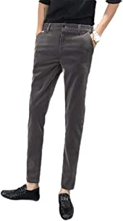 Howely Men Pure Color Relaxed Fit Slim Fitted Velour Business Plain Front Pant