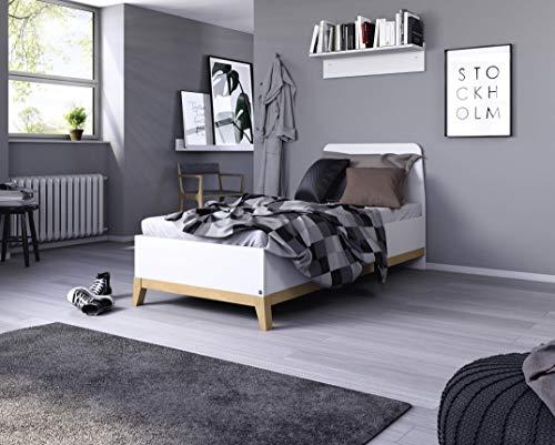 Rauch Bett/Einzelbett/Futonbett Carlsson in weiß / Eiche massiv, Holz, 99 x 207 x 97 cm
