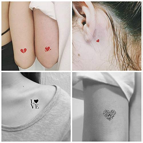 Everjoy Red and Black Love Hearts Temporary Tattoos - 20 Pcs, Waterproof Valentines Decal Tattoo Stickers for Women