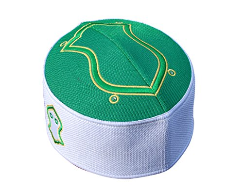 TheKufi Exclusive Green White Golden Embroidered Sandal Kufi Crown Cap (L -23' (58.5cm))