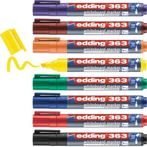 edding 363 Whiteboardmarker Set - bunte Farben - 8 Whiteboard Stifte - Keilspitze 1-5 mm - Boardmarker abwischbar - für Whiteboard, Flipchart, Magnettafel, Memoboard - Sketchnotes - nachfüllbar