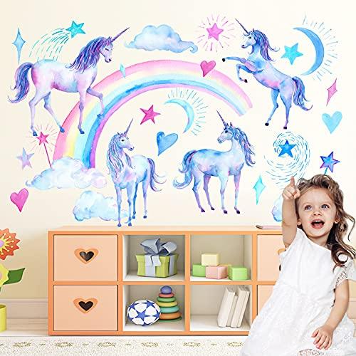 2 Vellen Eenhoorn Muurstickers Decor Voor Meisjeskamer, Eenhoorn Muur Regenboog Sticker Decor Voor Babykamer Kinderkamer…
