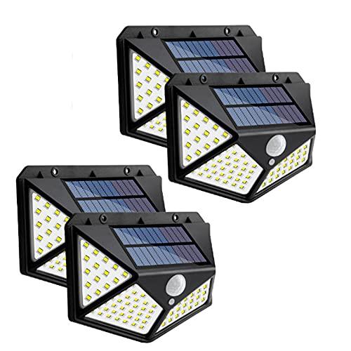 Wandskllss Luces solares actualizadas al aire libre inalámbrico movimiento solar luces solares IP68 luz de pared solar para puerta delantera, patio, garaje, jardín, negro 4 piezas