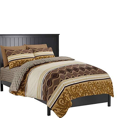 GonZalo GraCia. Reversible Egyptian Cotton 4Pcs Duvet Quilt Cover Bedding Set 900 Thread Count (901 Beige, Double)