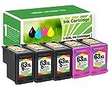 Limeink 5 Remanufactured Ink Cartridge 63XL 63 XL High Yield for HP Envy 4512 4520 Deskjet 3632 2130 2132 1110 3636 3637 1112 3630 3634 OfficeJet 3830 3833 4650 4652 4655 5255 5258 Printer Black Color
