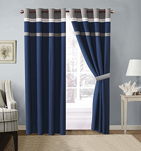 4 Piece Navy Blue/Grey/White Color Block Microfiber Curtain Set 108 inch Wide X 84 inch Long (2 Window Panels, 2 Ties)