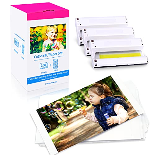 Markurlife Compatible Canon Selphy CP1300 CP1200 CP1000 CP910 Papel y Tinta KP-108IN 3115B001 (AA) para impresoras Canon Selphy CP, 108 Hojas de Papel fotográfico (4 x 6') y 3 cartucho de Tinta
