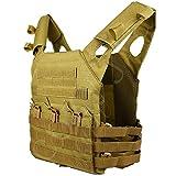 COZYJIA Airsoft Vest, JPC Military Tactical Molle Plate Carrier Chaleco de Caza para Caza Exterior Pesca Senderismo Airsoft Juego de Guerra (Caqui)