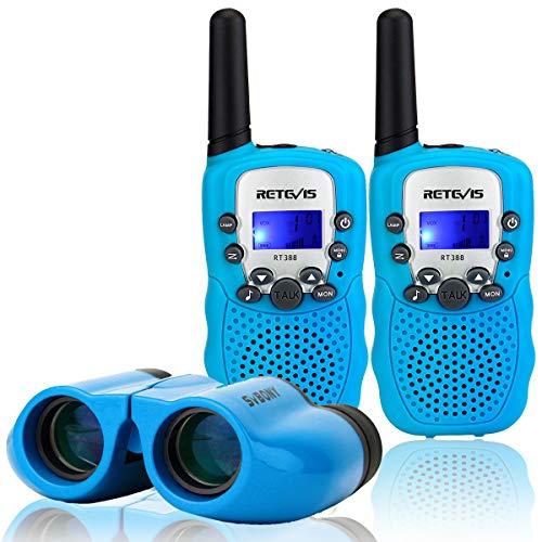 Retevis RT388 Walkie Talkie Niños y Prismáticos Niños PMR446 8 Canales Linterna VOX Walkie-Talkie 8x21 Ultra Compacto Binoculares Niños Juguete Regalo para Niños (Azul)