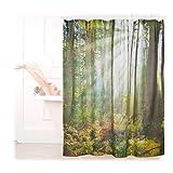 Relaxdays Duschvorhang Wald Landschaft, Naturmotiv, Polyester, waschbar, Anti-Schimmel, Badewannenvorhang 180x180, grün