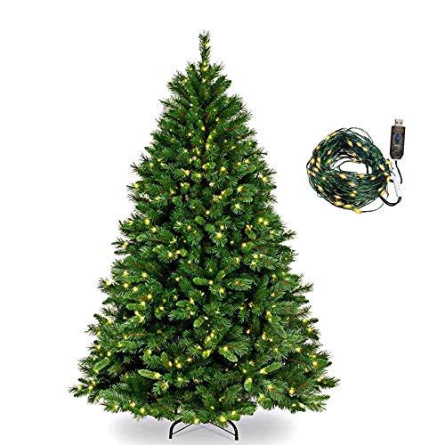 Collen Tannenbaum Künstlich Weihnachtsbaum grün Christbaum Tanne Weihnachtsdeko, mit Metall Christbaum Ständer und 150 LEDs Lichterketten für 8 Beleuchtungsmodi (1.5m)