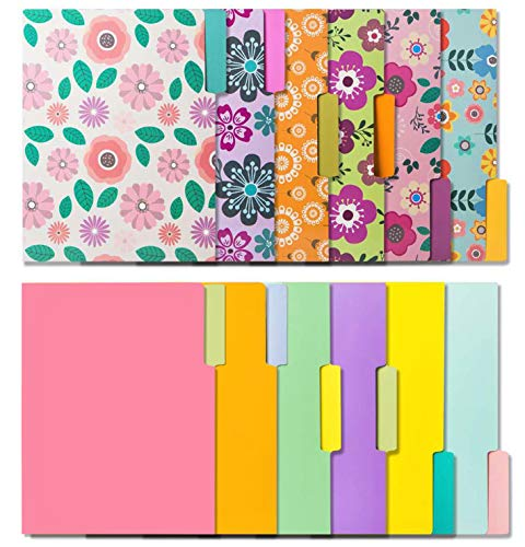 12 Cute File Folders -Floral File Folders & Colored File Folders in Vibrant Colors -Decorative File Folders -Pretty File Folders- 300 gsm Thick, Letter Size File Folders - 9.5 x 11.5 inch (Pack of 12)