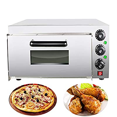 Commercial Pizza Oven 110V, Stainless Steel Pizza Oven Countertop Pizza Maker Electric Single Pizza/Bread/Cake Toaster Oven