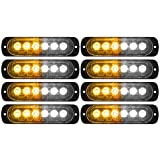 DIBMS LED Emergency Strobe Lights, 8x Amber White 6 LED Strobe Warning Emergency Flashing Light Caution Construction Hazard Light Bar For Car Truck Van Off Road Vehicle ATV SUV Surface Mount