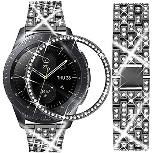 GROOMY Correa, Correa de Reloj de Metal con Correa de Acero Inoxidable con Diamantes de Lujo GalaxyWatch3-Black -20