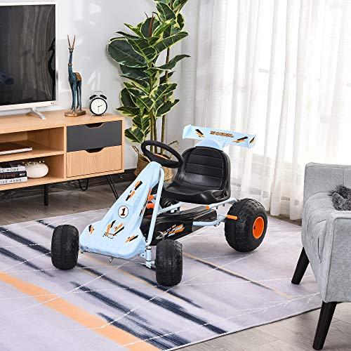 HOMCOM Kids Children Pedal Go Kart Manual Ride On Car w/ Brake Gears Steering Wheel Adjustable Seat Outdoor Fun Vehicle 97 x 66 x 59 cm